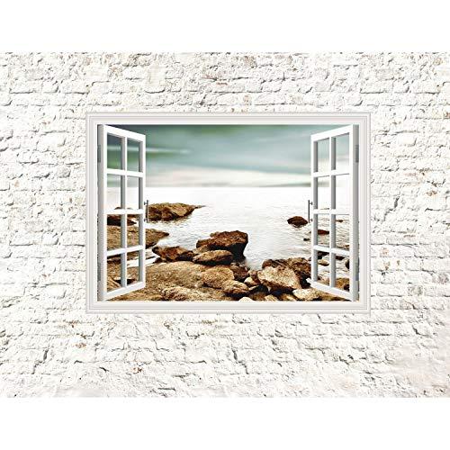 Runa Art Fototapete Fenster zum Meer Modern Vlies Wohnzimmer Schlafzimmer Flur - made in Germany - Weiss Braun 9018010b