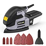 220W Orbital Sander - JELLAS 13000 RPM Triangular Sander with Dust Collection, 16PCS Abrasive Papers, Finger Attachment and Sanding Pad Included