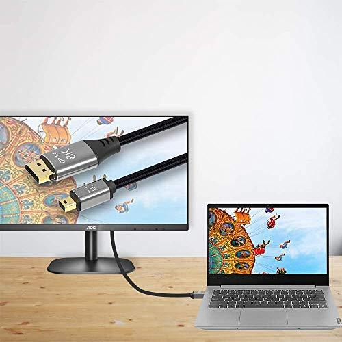 CABLEDECONN Mini DP zu DisplayPort 8K-Kabel 8K (7680x4320)@ 60Hz 4K@144Hz DisplayPort 1.4 Bidirektionales Getriebe DisplayPort zu Mini DisplayPort 8K-Kabel Kompatibel mit MacBook Pro Surface Pro 1m