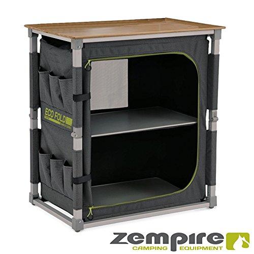 Zempire Design Campingschrank mit Einer natürlichen und wetterfesten Bambusplatte, vollständig Faltbar + Extrem Robust, 2 Große Aufbewahrungsfächer