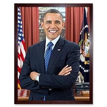 Souza Portrait US President Barack Obama Photo Art Print Framed Poster Wall Decor 12x16 inch