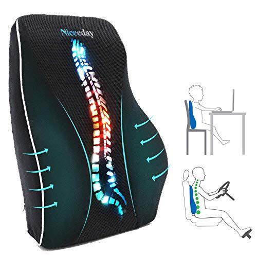Lendenwirbelkissen für Bürostuhl Auto Lendenkissen, Gedaechtnis-Schaum-Rückenkissen mit atmungsaktiver orthopädischer 3D-Netz-Lendenwirbelstütze