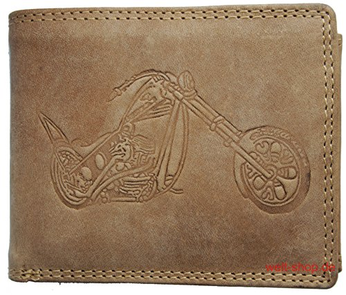 Portemonnaie Büffel Wild Leder Motorrad Chopper geprägt