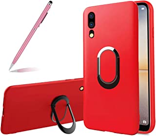 SKYXD Ring Holder Stand Case for Huawei P20 Pro,Magnetic Car Mount Rotating Metal Ring Stylish Frosted Full Soft Slim Anti-Drop Finger Grip Kickstand TPU Protective Cover for Huawei P20 Pro,Red