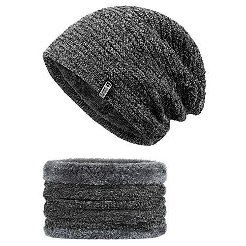Wintermütze , synmixx Slouch Beanie Mütze und Schal Set Herren Damen Warme Strickmütze Winter Mütze mit Weichem Fleecefutter - Grau