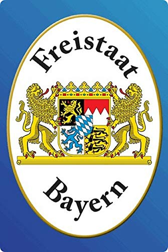 Blechschild 20x30cm gewölbt Freistaat Bayern Wappen Deko Geschenk Schild