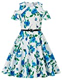 Girls Princess Dress Denim Tops Floral Tutu Skirts 9Y DB39-1