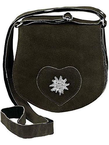 HC Damen Kleine Trachtentasche mit Edelweiß, Farben:Oliv