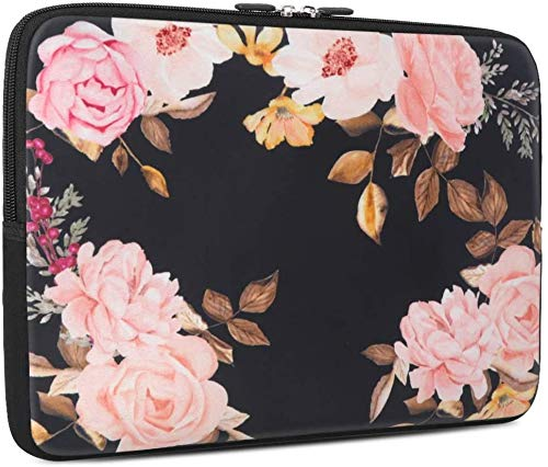 13-13.3 inch Laptop Sleeve, iCasso Soft Neoprene Protective Laptop Bag Carrying Case Compatible with 13-13.3 inch MacBook Air, MacBook Pro, Tablet PC, Ultrabook, Netbook - Floral