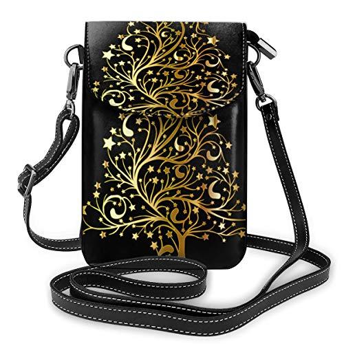 Goldener Weihnachtsbaum kleine Umhängetasche für Handy, Handtasche aus PU-Leder mit verstellbarem Riemen für den Alltag