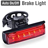 BikeSpark Auto-Sensing Rear Light G2-20 lm Super Bright LED Bike Tail Light with 220 Degree Visibility - Auto On/Off & Deceleration Flash by Motion Sensing - USB Rechargeable - Water Resistant IPX5