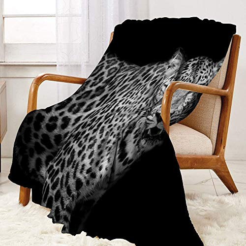 SUZM Leopard- Fluffy plush soft comfortable warm blanket Luxury air-conditioning duvet cover W91 x L60 Inch
