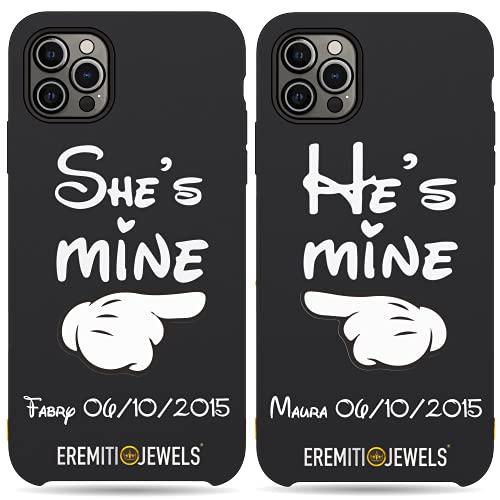 Cover di Coppia - SHE'S MINE HE'S MINE - idea Regalo per fidanzati - Compatibile con iPhone (Personalizza iPhone)