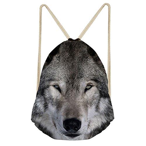 CHAQLIN Cool Wolf Sac à dos d'école personnalisé pour homme Motif loup