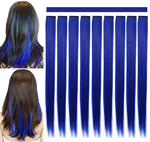RYE 21 inch Wig Hiarpieces Colored Hair Extensions for Girls Kids Women Multi-colors Party Highlights Clip in Synthetic Blue Hair Extensions (9 Pcs Blue)