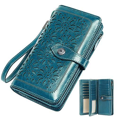 Vintage Geldbörse Damen Leder Gross, RFID Schutz Damen Portemonnaie Groß Viele Fächer, Geldbeutel Damen Gross mit 26 Kartenfächer mit Handyfach (Blau)