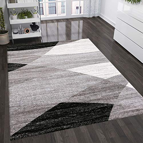 VIMODA Moderno Soggiorno Tappeto Disegno Geometrico Erica in Marrone Beige - Öko-Tex Certificato - Nero, 60 cm x 110 cm