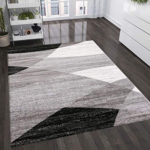 VIMODA Teppich Geometrisches Muster Meliert in Grau Weiß Schwarz, Maße:120 x 170 cm