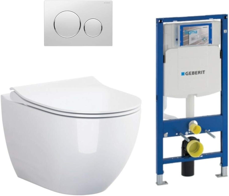 Geberit Vorwandelement UP320 + Bartolo WC + Drückerplatte + WC-Sitz Sigma20 wei chrom wei Slim