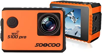 Metermall Kids Camera SOOCOO S100 Pro Voice Control WiFi 4K Action Camera Waterproof 2.0 Touch Screen with Gyro and Remote 20MP Orange
