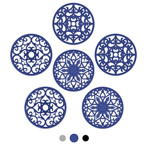 SMARTAKE 6 Set Silicone Trivet Mats, Multi-Use Intricately Carved Coasters, Insulated Non-Slip Durable Kitchen Mats, Flexible Modern Kitchen Table Mat, for Hot Dishes, Pots, Countertop (Navy Blue)