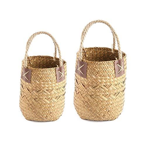 Hyden-MX 2 Unids/Set Vintage Seagrass Woven Flower Basket Tote Cesta de Almacenamiento con Mango Maceta de Estilo Pastoral Hecha a Mano para el hogar