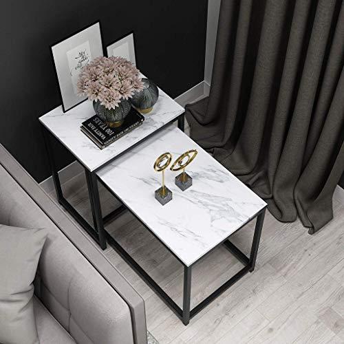 LYMHGHJ Muebles de decoración del hogar Mesa de Centro apilable para Sala de Estar, Mesa Decorativa, Juego de 2 mesas auxiliares rectangulares, Tablero con Efecto de mármol y Marco de Metal (Dorado