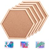 Aodaer 5 Pack 14.2 x 12.1 Inch Large Cork Bulletin Board Hexagon Frame Corkboard Decorative Hanging Pin Board Display Boards for Home, Office, School, Natural