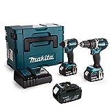 Makita DLX2180TJ - Taladro percutor DHP484 + atornillador de choque Dtd153 con 3 baterías 18 V 5 Ah