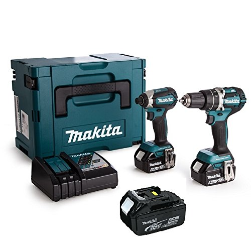 Makita DHP484 Hammer Drill + Dtd153 Impact Wrench with 3 Batteries 18 V 5 Ah DLX2180TJ Blue Silver