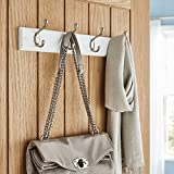 Direct Online Houseware Quality Heavy Duty 4 Double Coat Hooks Wall Or Door Mountable White Wooden Board With FREE Fixings