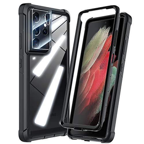 HATOSHI for Samsung Galaxy S21 Ultra 5G Case, [5X Military-Standard Shockproof Protection], with Tempered Glass Camera Lens Protector, Crystal Clear Phone Case [Without Built-in Screen Protector]