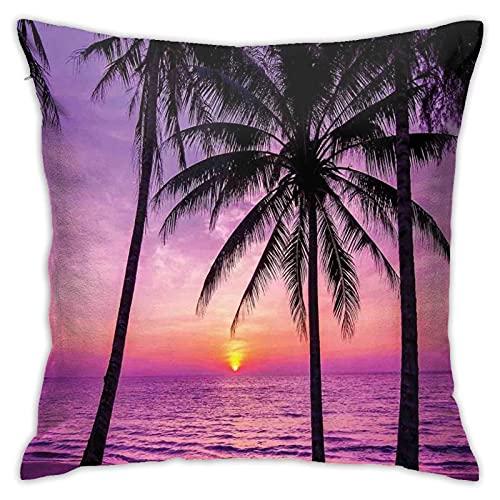 Funda de almohada de palmeras, silueta al atardecer, Dreamy Dusk cálido crepúsculo, funda de almohada decorativa para decoración del hogar, cuadrada, 45,7 x 45,7 cm