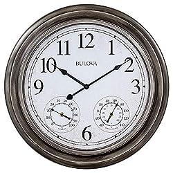 Bulova C4125 Block Island Wall Clock, Aged Silver-Tone