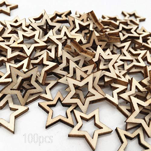 inherited 100 pcs Holzstern Scheiben, Holzstern Form Tags, Mini Stern Verschönerungen für Weihnachten Hochzeit Party DIY Handwerk Tisch Streuung Dekoration