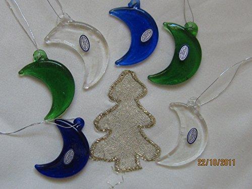 Glasmonde Mond aus Glas blau, grün, transparent, 3,7 cm, zum Aufhängen, 6 Stück