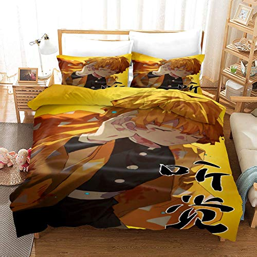 299 Duvet Cover Sets 3D Kimetsu No Yaiba Printing Child Adult Bedding Set 100% Polyester Gift Duvet Cover 3 Pieces With 2 Pillowcases C3-US Twin(173×218) cm