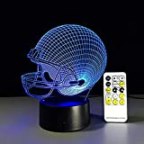 XLLJA Veilleuse 3D,Night Light Baseball Rugby Casque Night Light Optique Illusion Lumière Humeur Lampe Touch Remote Control 7 Couleurs Home Light Party Decor