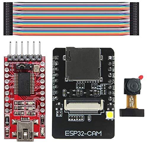 ESP32-CAM WiFi + Bluetooth Module Camera Module Development Board ESP32 con Camera OV2640 Adattattore Seriale FTDI FT232RL Jumper Wire