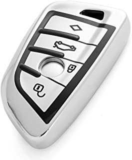 VANZAVANZU for BMW Key Fob Cover, 360° Full Protection Soft TPU Keyless Entry Remote Car Key Case Holder Protector for BMW New X5 X6 X1 1 Series/2 Series Coach (Silver)