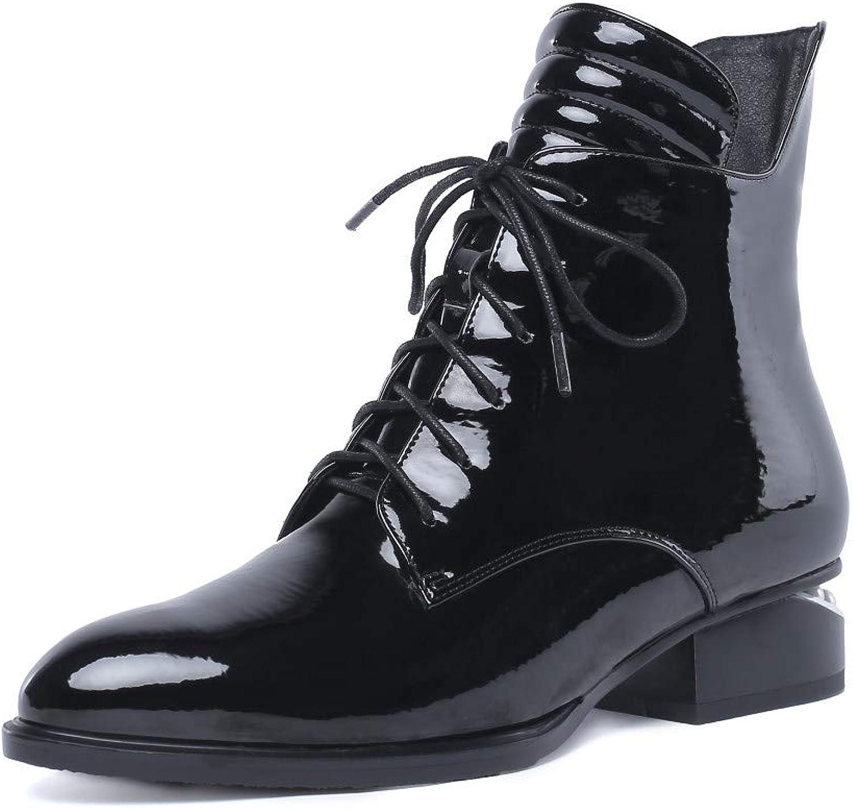 Nine Seven Woherrar Patent läder Round Toe Pearl Embellished Heel Handgjort Lace Up stövlar med Side Zipper