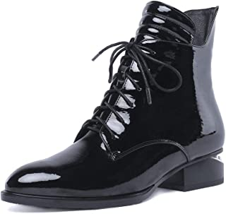 Nine Seven Women's Patent Leather Round Toe Pearl Embellished Heel Handmade Lace Up Boots with Side Zipper