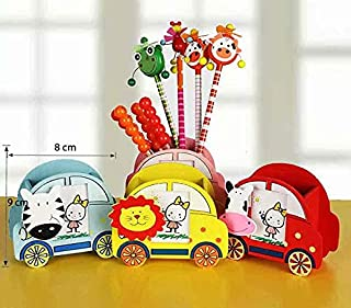 Perpetual Bliss Fancy Car Shape Wooden Pen Holder with Photo Frame / Paper Clip / Birthday Return Gift - (Pack of 6)