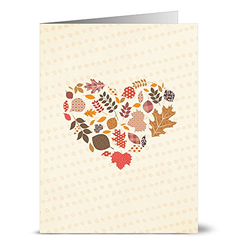 Note Card Cafe Fall Greeting Cards with Kraft Envelopes | 24 Pack | Happy Fall Heart Design | Blank Inside, Glossy Finish | Autumn, Winter, Christmas, Occasions