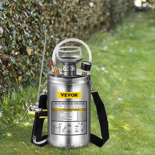 Happybuy 1.5Gal Stainless Steel Sprayer, Set with 16'' Wand& Handle& 3.3FT Reinforced Hose, Hand Pump Sprayer with Pressure Gauge&Safety Valve, Adjustable Nozzle Suitable for Gardening& Sanitizing