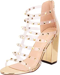 2d7b4184ca Cambridge Select Women's Clear Strappy Pyramid Stud Chunky Block High Heel  Sandal