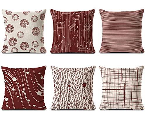 HuiSiFang Set di 6 Federa Cuscino Divano, Copricuscini Decorativi Geometrico in Cotone e Lino, Caso Federe per Cuscini Moderni 45x45cm