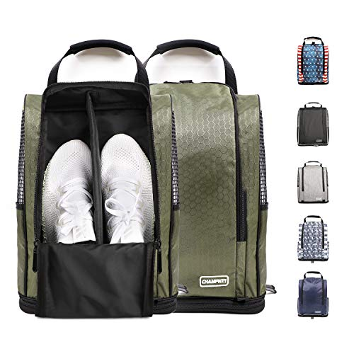 Champkey Women's Golf Shoe Bag - Zippered Shoe Carrier Bags with Outside Pocket for Socks, Tees,Divot,Mark etc. (Green,Men Size)