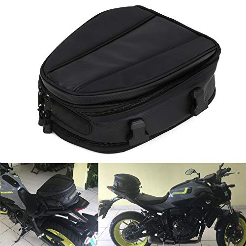 JFG RACING Motorcycle Tail Bag Waterproof Luggage Bag Seat Bag Motorbike Saddle Bags Multifunctional PU Leather Bike Bag Sport Backpack,15 Liters