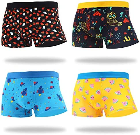 MAKABO Men s Boxer Briefs 4 Pack Novelty Colorful Funny Breathable Comfortable Cotton Casual product image